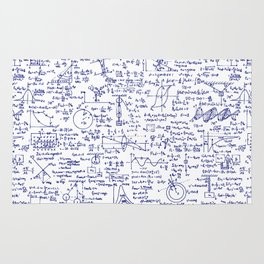 Physics Equations in Blue Pen Rug