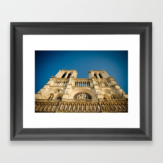 Notre Dame Cathedral on the Seine Facade Framed Art Print