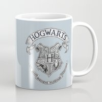 hogwarts Mugs featuring Hogwarts by Cécile Pellerin
