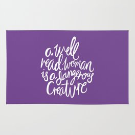Well Read Woman - Feminist Nerd Girl Quote - White Purple Rug