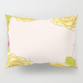 Yellow and pink roses. Spring mood. Pillow Sham