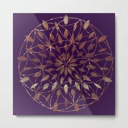 Gold Boho Flower Metal Print