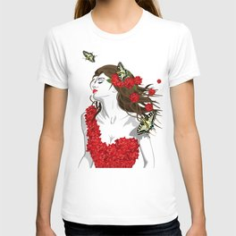 Woman in Dress from Gibiscus Flowers and Butterflies T-shirt