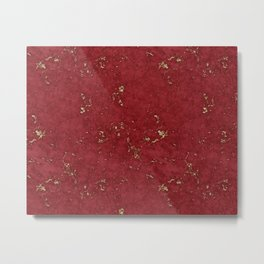 Royal Red Marble Gold Mine Metal Print