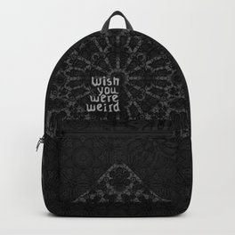 Gothic geometry. Witch decor. Retro metal. Backpack