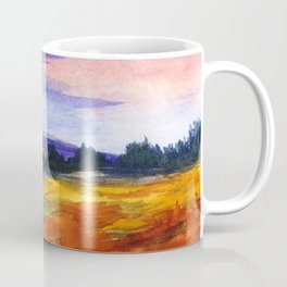The Good Life, Landscape Watercolor Painting Coffee Mug
