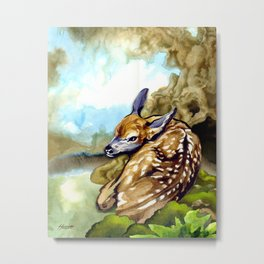 Fawn Parked in the Trees Metal Print