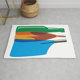 Rowing Oars Evolution in color Rug