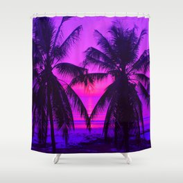 Pink Palm Trees by the Indian Ocean Shower Curtain