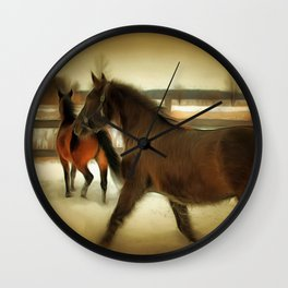 Horses Along a Fence in Snow in Winter. Golden Age Painting Style. Wall Clock