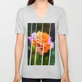 Pink Roses in Anzures 3 Tinted 2 Unisex V-Neck