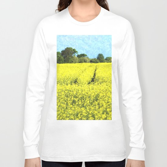 Rape Seed Field watercolour Long Sleeve T-shirt