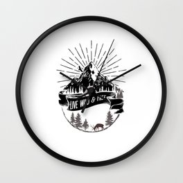 Live Wild And Free - Bushcraft Survival Wall Clock