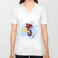 kiki V-neck T-shirts featuring kiki delivery service by Ponchoart