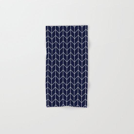 Chevron pattern -  white on darkblue Hand & Bath Towel