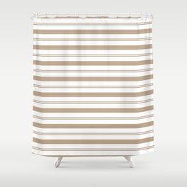 Pantone Hazelnut and White Stripes, Wide and Narrow Horizontal Line Pattern Shower Curtain