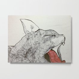 Cat lick milk Metal Print