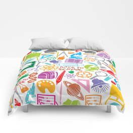 education and school icons background (seamless pattern) Comforters