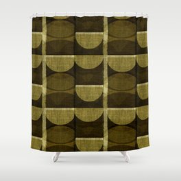 """Retro Olive green Chained Circles"" Shower Curtain"