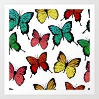 butterflies Art Prints featuring Butterflies by Julia Badeeva