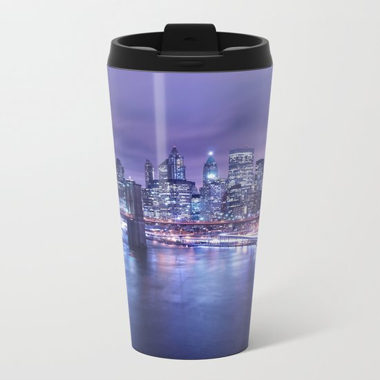 New York City Night Lights : Periwinkle Blue Metal Travel Mug