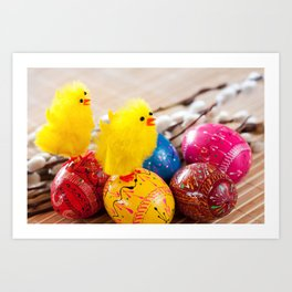 Easter eggss and fluffy chickens Art Print