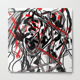 Abstract in Gray, Red, White, and Black Metal Print