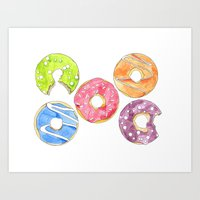 donut Art Prints featuring Donut by Inkwork