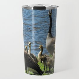 Canada Geese on Grass by Water Travel Mug