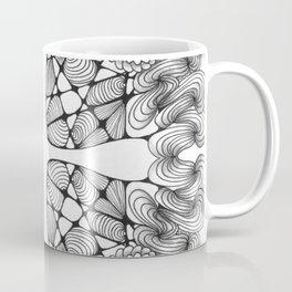 Black and White Zentangled Cross Tile Doodle Design Coffee Mug