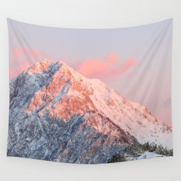 Last sun light on mountain Storžič, Slovenia Wall Tapestry