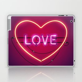 Pink Love in the Heart Neon Sign Laptop & iPad Skin