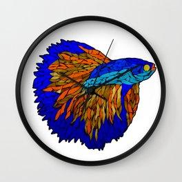 Betta Fighting Fish _ Orange Wall Clock