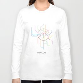 Moscow Metro Map Russian Underground Train Lines Long Sleeve T-shirt