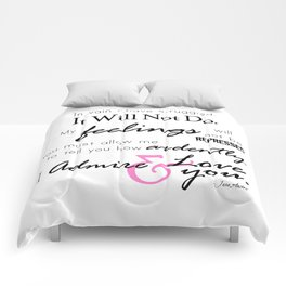 I Admire & Love you - Mr Darcy quote from Pride and Prejudice by Jane Austen Comforters
