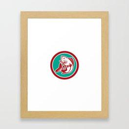 Largemouth Bass Jumping Circle Retro Framed Art Print
