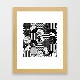 Hexual - Black and white, honeycomb, hexagon pattern, stripes, paint splats, grid and marble Framed Art Print