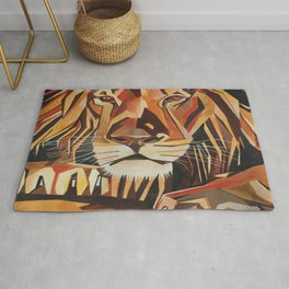 Lion Vector In Cubist Style Rug