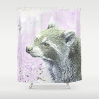 racoon Shower Curtains featuring sketched racoon by MehrFarbeimLeben