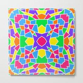Rainbow Mosaic Symmetrical Kaleidoscope  Metal Print