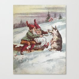 Christmas Card from Sweden, 1800s Canvas Print