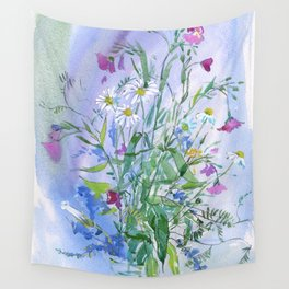 Meadow flowers - watercolor painting Wall Tapestry