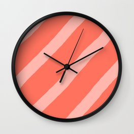 Soft Organic Diagonal Living Coral and Light Salmon Stripes Wall Clock