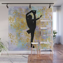 Golden Aspirations Figure Skating Watercolor Graphic Print Wall Mural