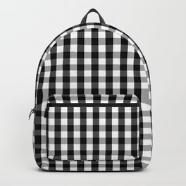 Small Black White Gingham Checked Square Pattern Backpack