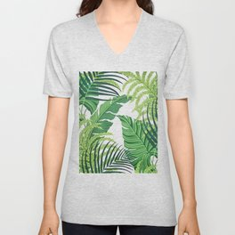 Green tropical leaves II Unisex V-Neck