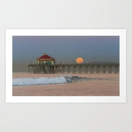 Moonset Huntington Beach Pier   1/16/14 Art Print