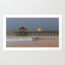 Moonset Huntington Beach Pier   1/16/14 Art Print