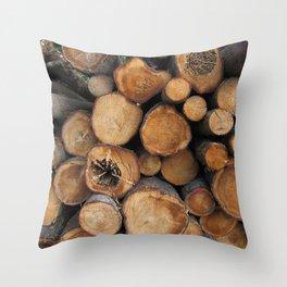 New Sawn Logs Throw Pillow