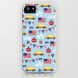 Made in the USA New York City icons pattern iPhone Case